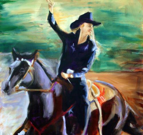 Waving Cowgirl
